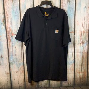 Carhartt Black Polo Shirt Men's Size Large Tall with Front Pocket